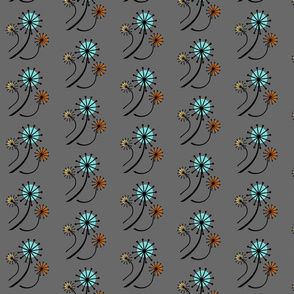 Mid Century Modern Dandelions on gray