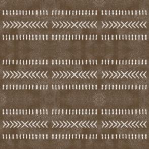 Minimalist Tribal Pattern on Brown