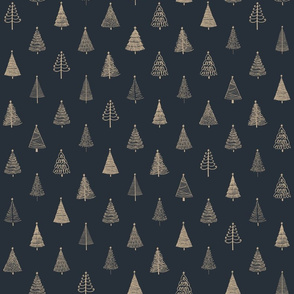 Rustic Christmas Trees   Gold on Black background