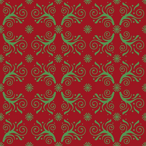 Christmas Flourishes in green on red