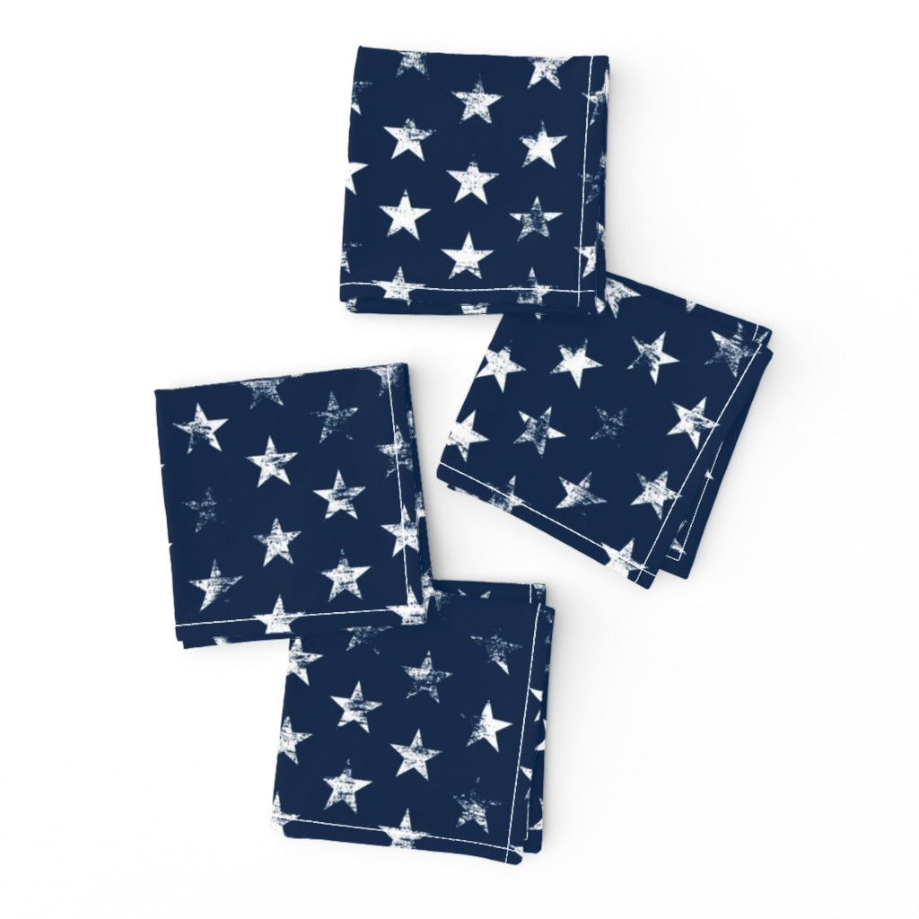 Frizzle Cocktail Napkins featuring Distressed White Stars on Navy Blue (Grunge Vintage 4th of July American Flag Stars) by sweeterthanhoney