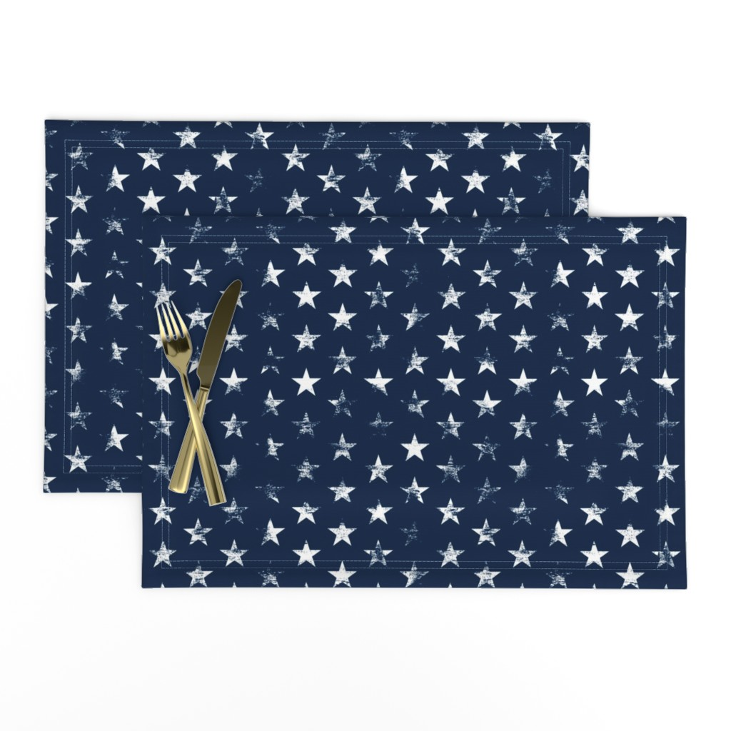 Lamona Cloth Placemats featuring Distressed White Stars on Navy Blue (Grunge Vintage 4th of July American Flag Stars) by sweeterthanhoney