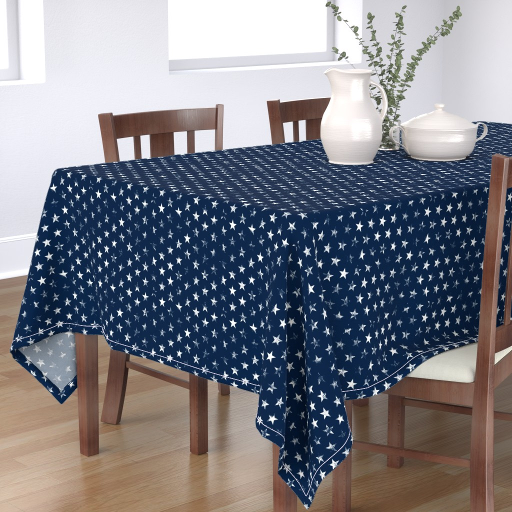 Bantam Rectangular Tablecloth featuring Distressed White Stars on Navy Blue (Grunge Vintage 4th of July American Flag Stars) by sweeterthanhoney