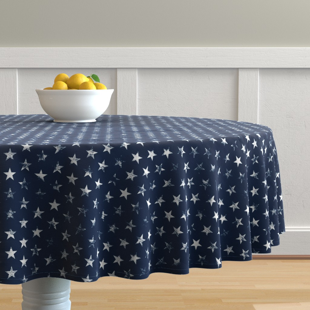Malay Round Tablecloth featuring Distressed White Stars on Navy Blue (Grunge Vintage 4th of July American Flag Stars) by sweeterthanhoney