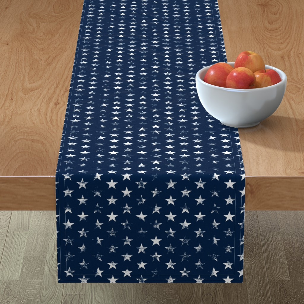 Minorca Table Runner featuring Distressed White Stars on Navy Blue (Grunge Vintage 4th of July American Flag Stars) by sweeterthanhoney