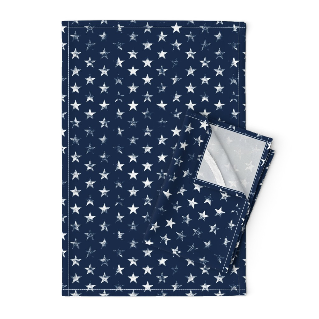 Orpington Tea Towels featuring Distressed White Stars on Navy Blue (Grunge Vintage 4th of July American Flag Stars) by sweeterthanhoney