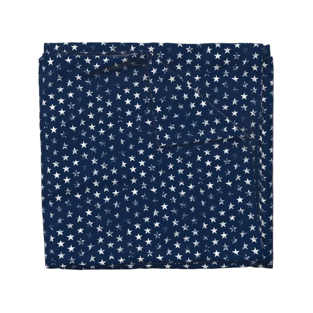 Wyandotte Duvet Cover featuring Distressed White Stars on Navy Blue (Grunge Vintage 4th of July American Flag Stars) by sweeterthanhoney