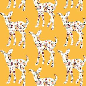 """6"""" Floral Fawn Silhouettes on Mustard"""