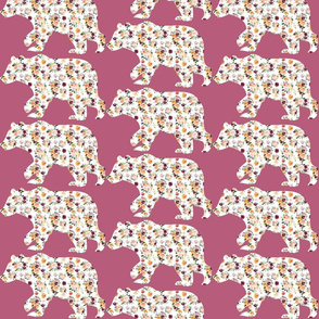 "6"" Floral Bear Silhouettes on Purple"
