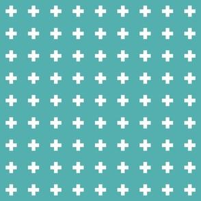 blue turquoise cross +