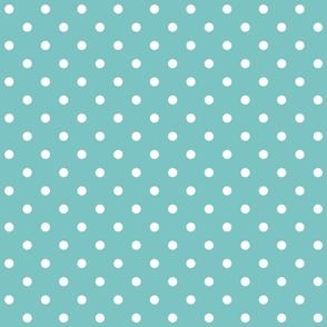 aqua sky polka dots