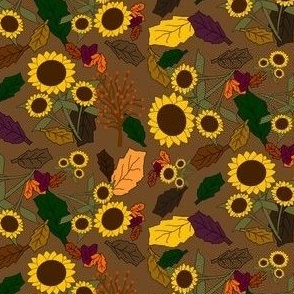 Fall Sunflower and Leaves Fabric