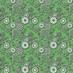 Embossed Snowflakes Green