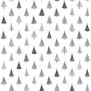 Rustic Christmas Trees   Black on White