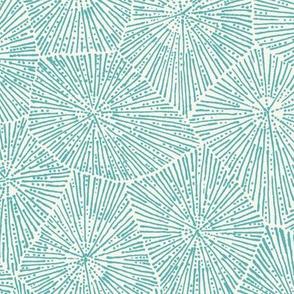 jumbo petoskey-stone pattern,  light turquoise  on off-white