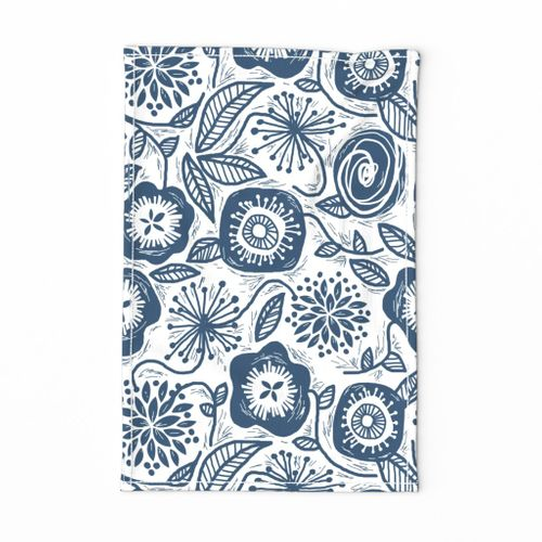 Linocut Leaves and Petals - Navy - LARGE SCALE