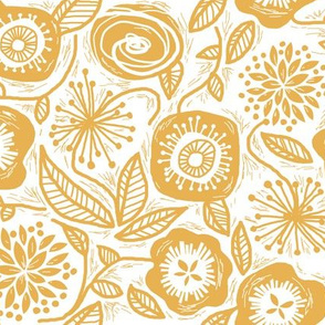 Linocut Leaves and Petals - Gold