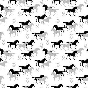 Wild horses monochrome SMALL scale