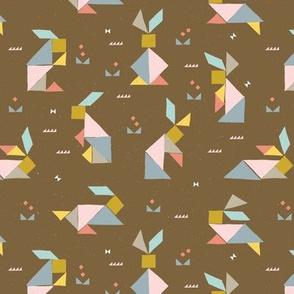 Tangram Bunnies M+M Nutmeg by Friztin