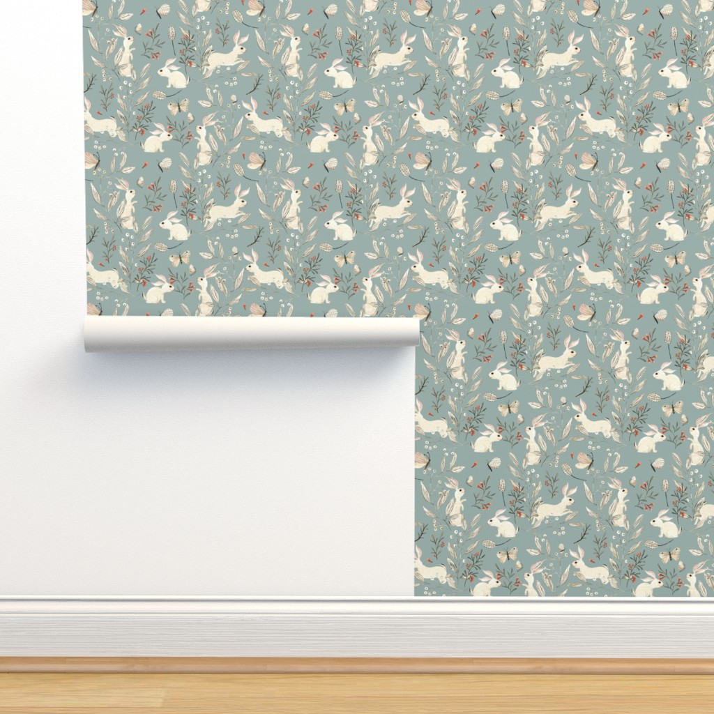 Isobar Durable Wallpaper featuring Bunnies blue by katherine_quinn
