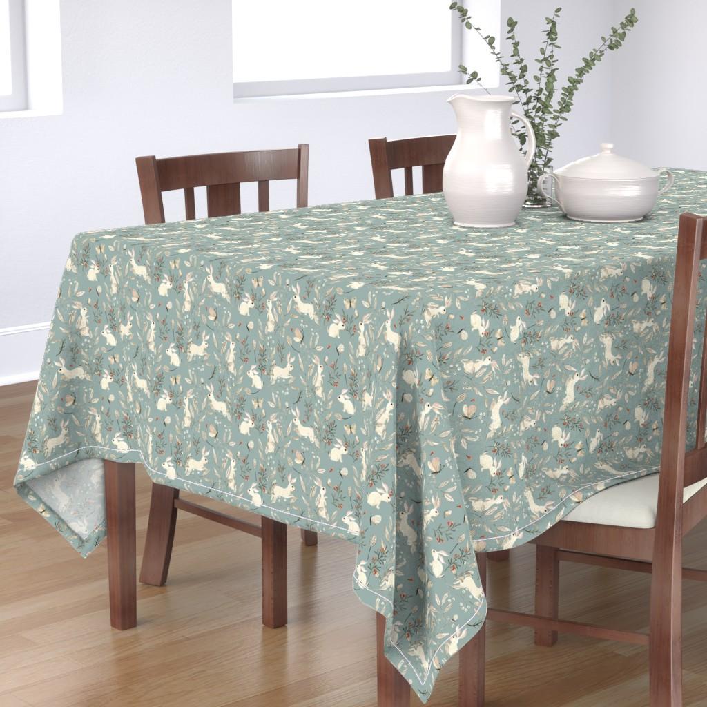 Bantam Rectangular Tablecloth featuring Bunnies blue by katherine_quinn