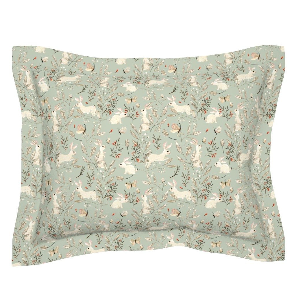Sebright Pillow Sham featuring Bunnies dusky green by katherine_quinn