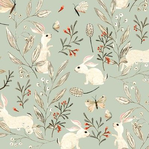 Bunnies dusky green