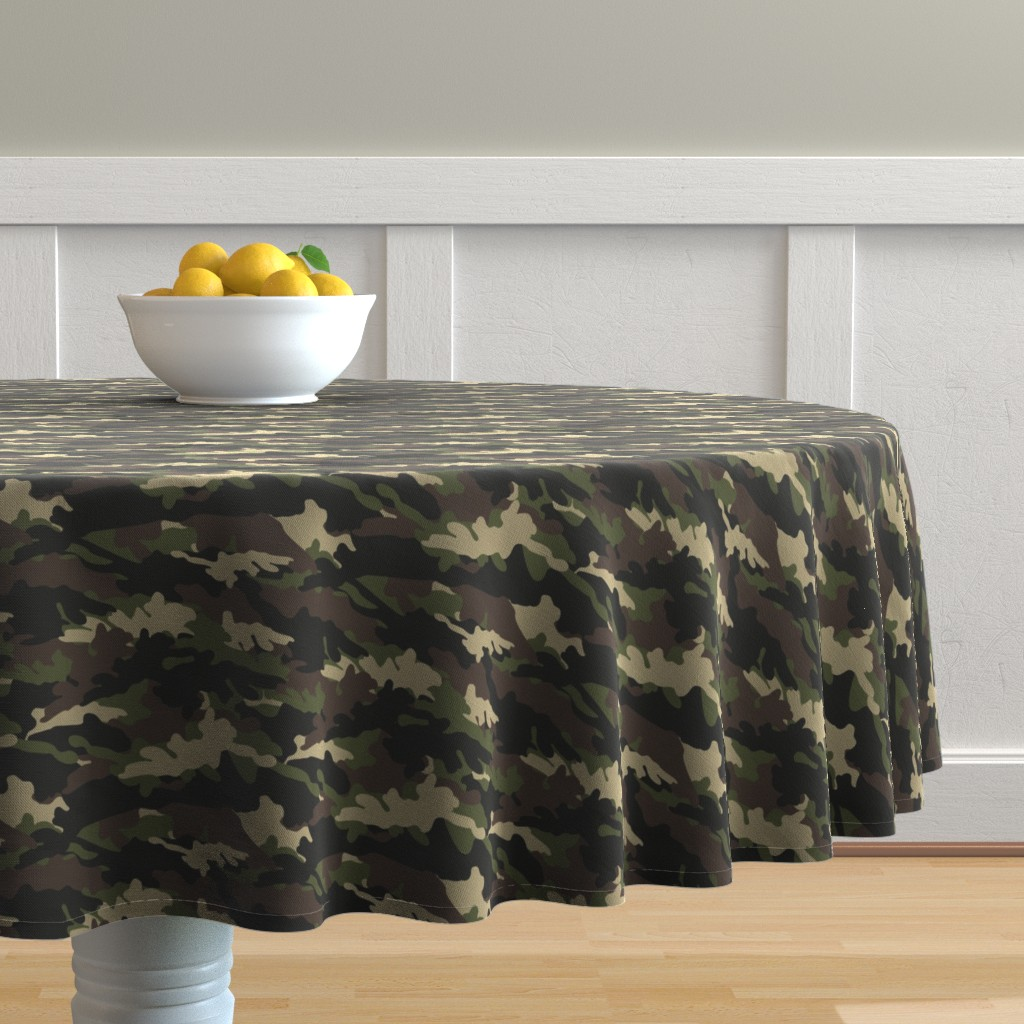 Malay Round Tablecloth featuring C2 - camouflage  by littlearrowdesign