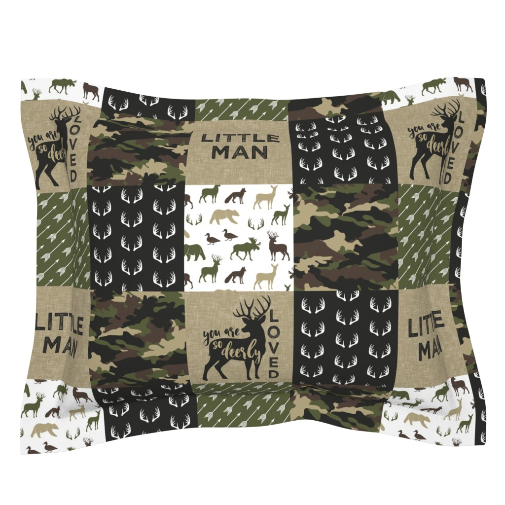 Sebright Pillow Sham featuring Little Man - Woodland wholecloth - C2 camouflage by littlearrowdesign