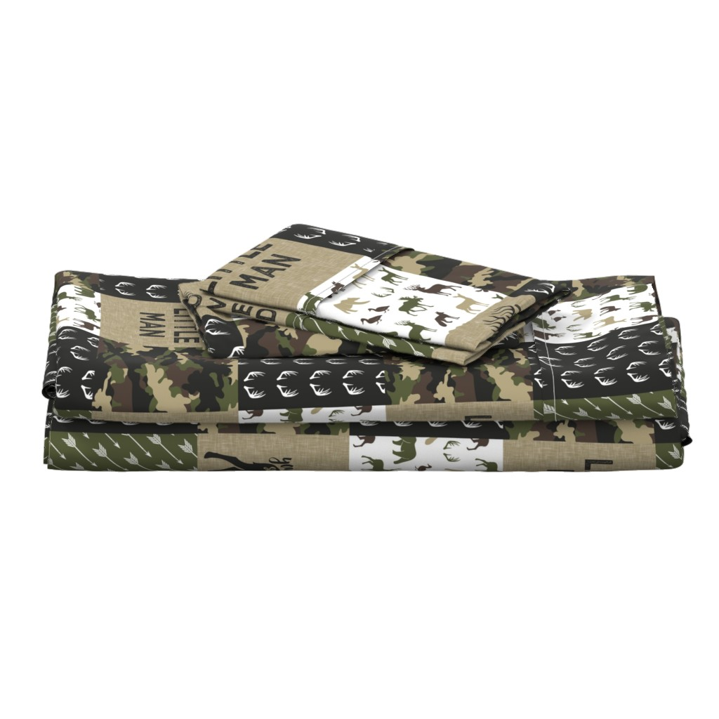 Langshan Full Bed Set featuring Little Man - Woodland wholecloth - C2 camouflage by littlearrowdesign