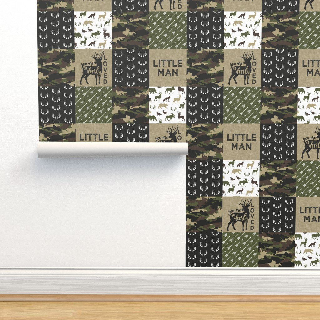 Isobar Durable Wallpaper featuring Little Man - Woodland wholecloth - C2 camouflage by littlearrowdesign