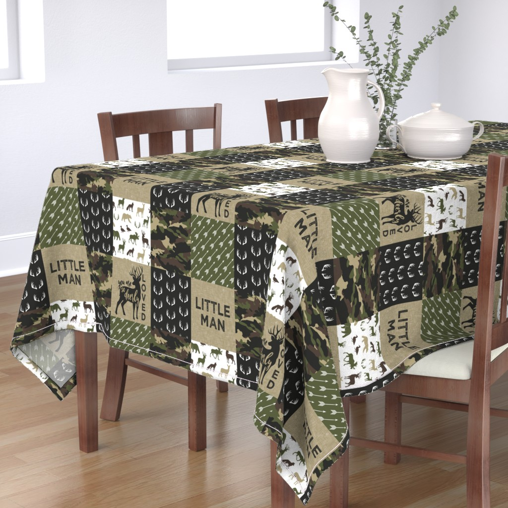 Bantam Rectangular Tablecloth featuring Little Man - Woodland wholecloth - C2 camouflage by littlearrowdesign