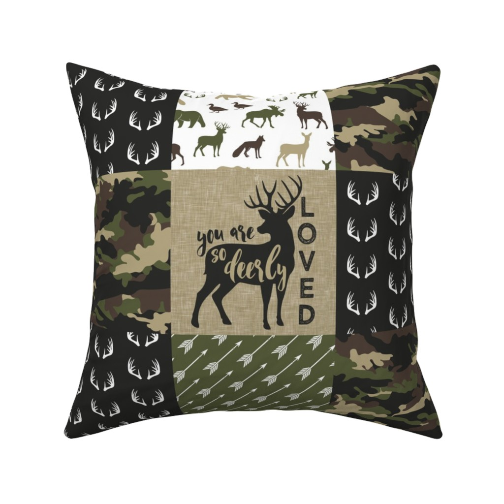 Catalan Throw Pillow featuring Little Man - Woodland wholecloth - C2 camouflage by littlearrowdesign