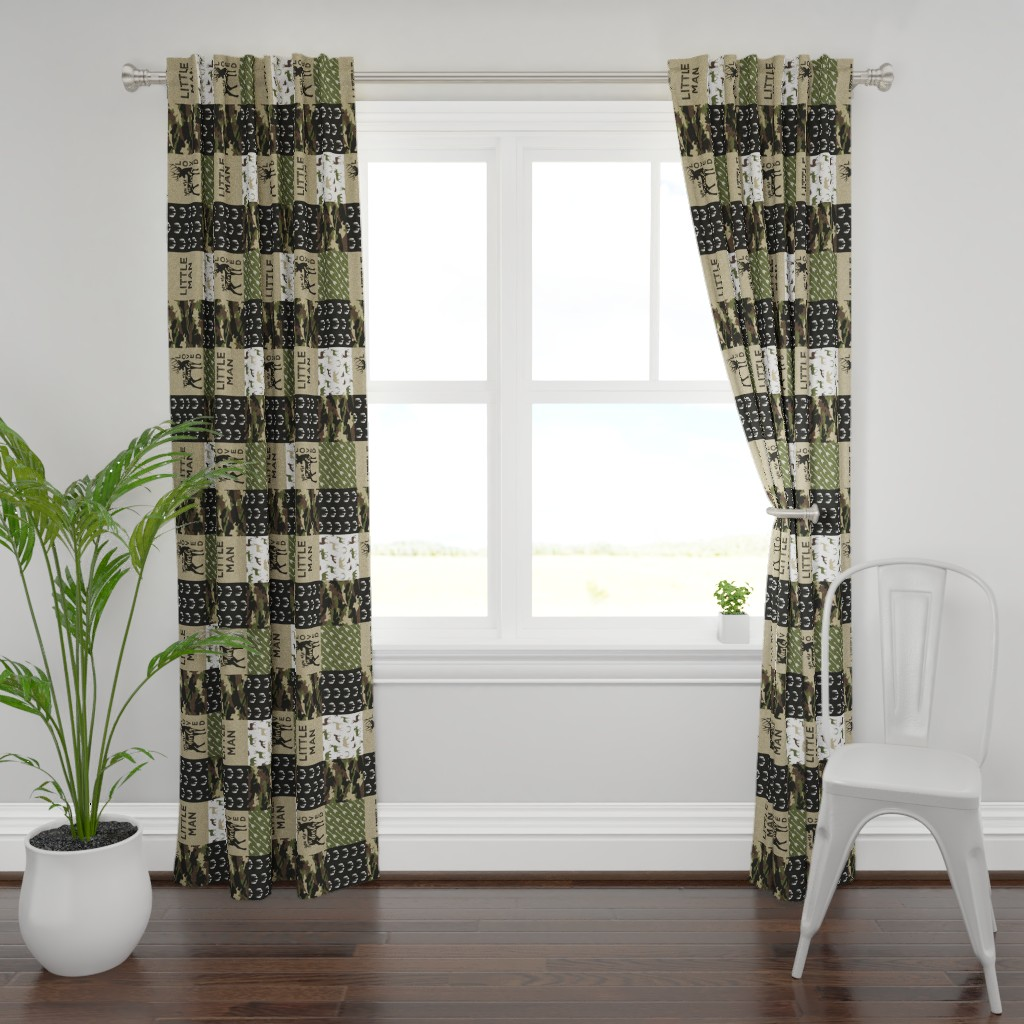 Plymouth Curtain Panel featuring Little Man - Deer Woodland wholecloth - C2(90) by littlearrowdesign