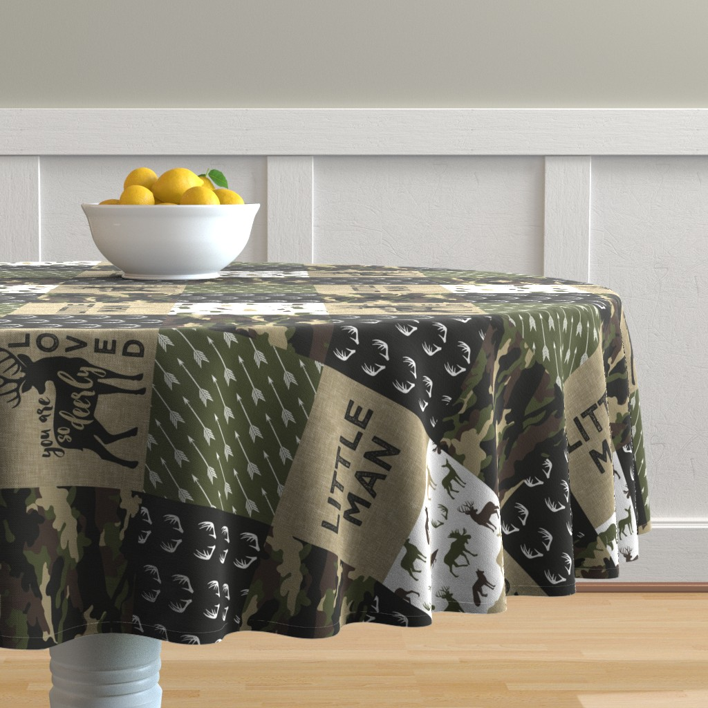 Malay Round Tablecloth featuring Little Man - Deer Woodland wholecloth - C2(90) by littlearrowdesign