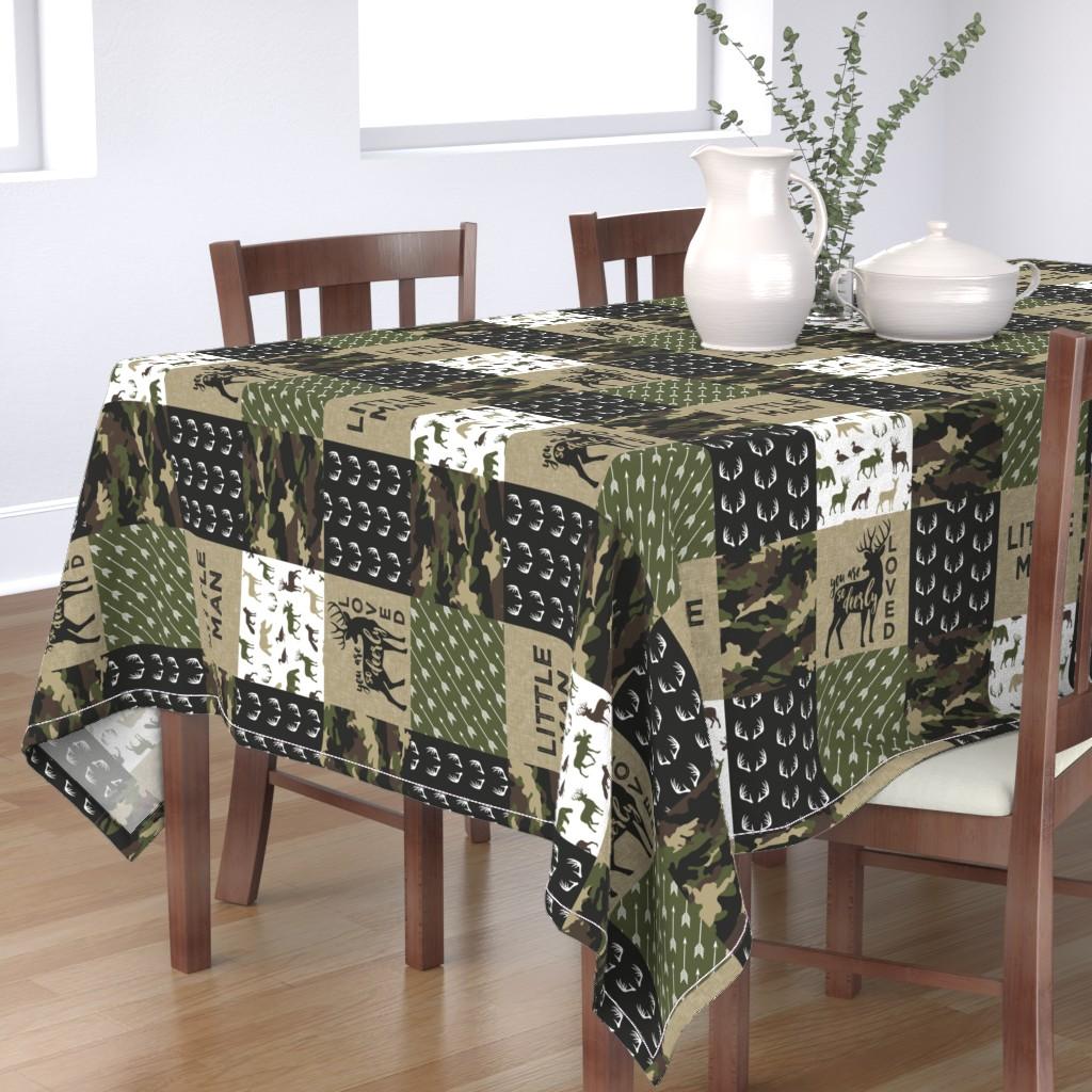Bantam Rectangular Tablecloth featuring Little Man - Deer Woodland wholecloth - C2(90) by littlearrowdesign