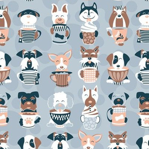 Doggie Coffee and Tea Time 2 // small scale // light blue grey background