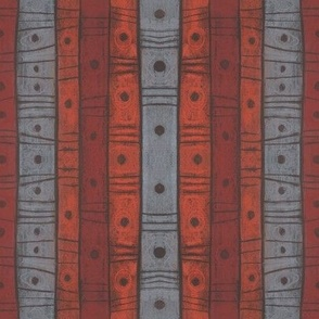 Stripes and dots, gray, orange and terracotta
