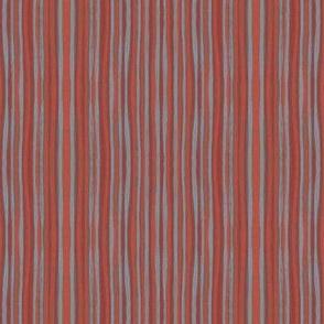 Narrow stripes, gray and terracotta