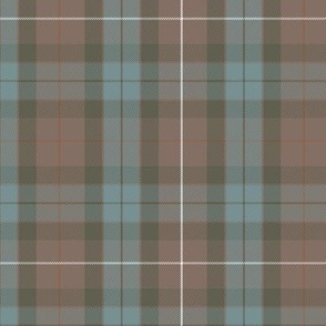 "greyed Fraser hunting weathered tartan, 6"" rusty red"
