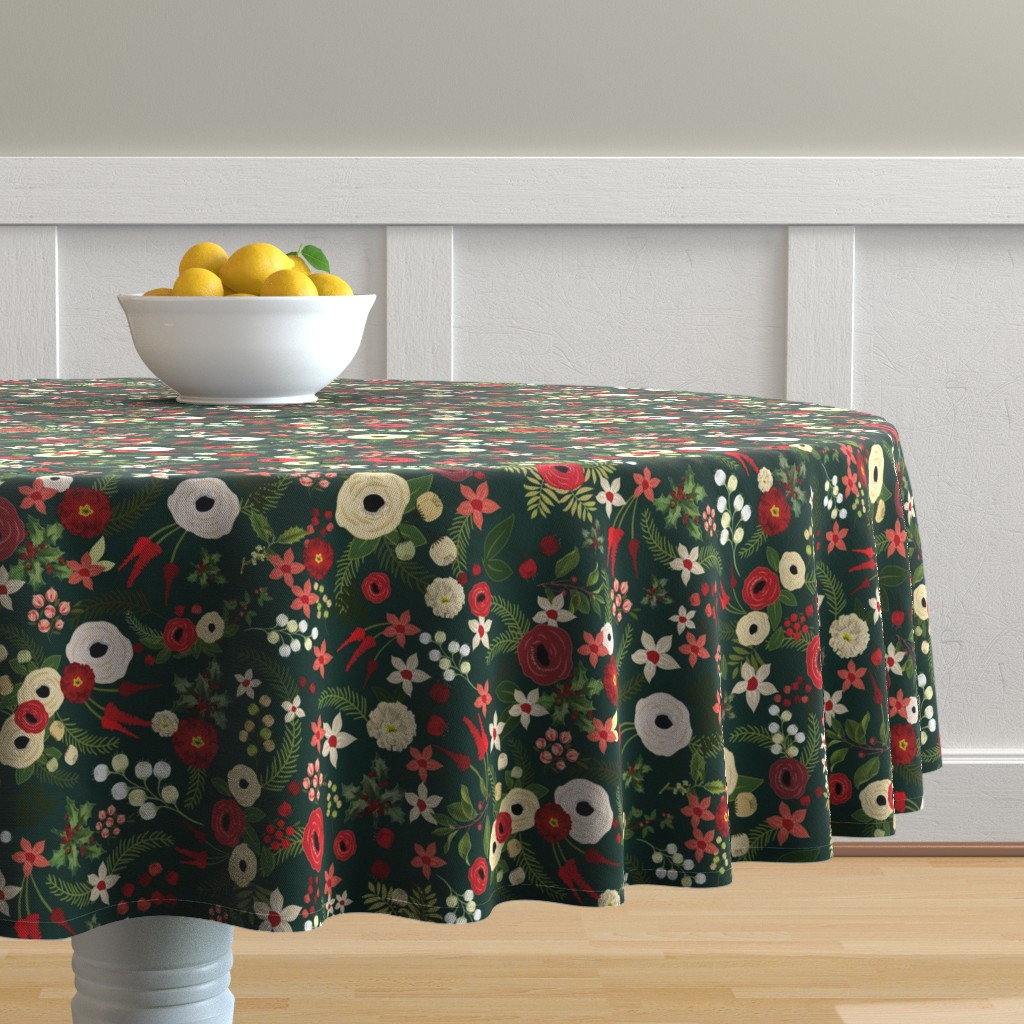 Malay Round Tablecloth featuring Vintage Christmas Floral Hunter Green by twodreamsshop