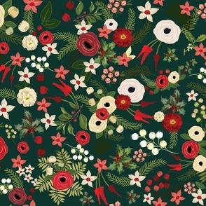 Vintage Christmas Floral Hunter Green