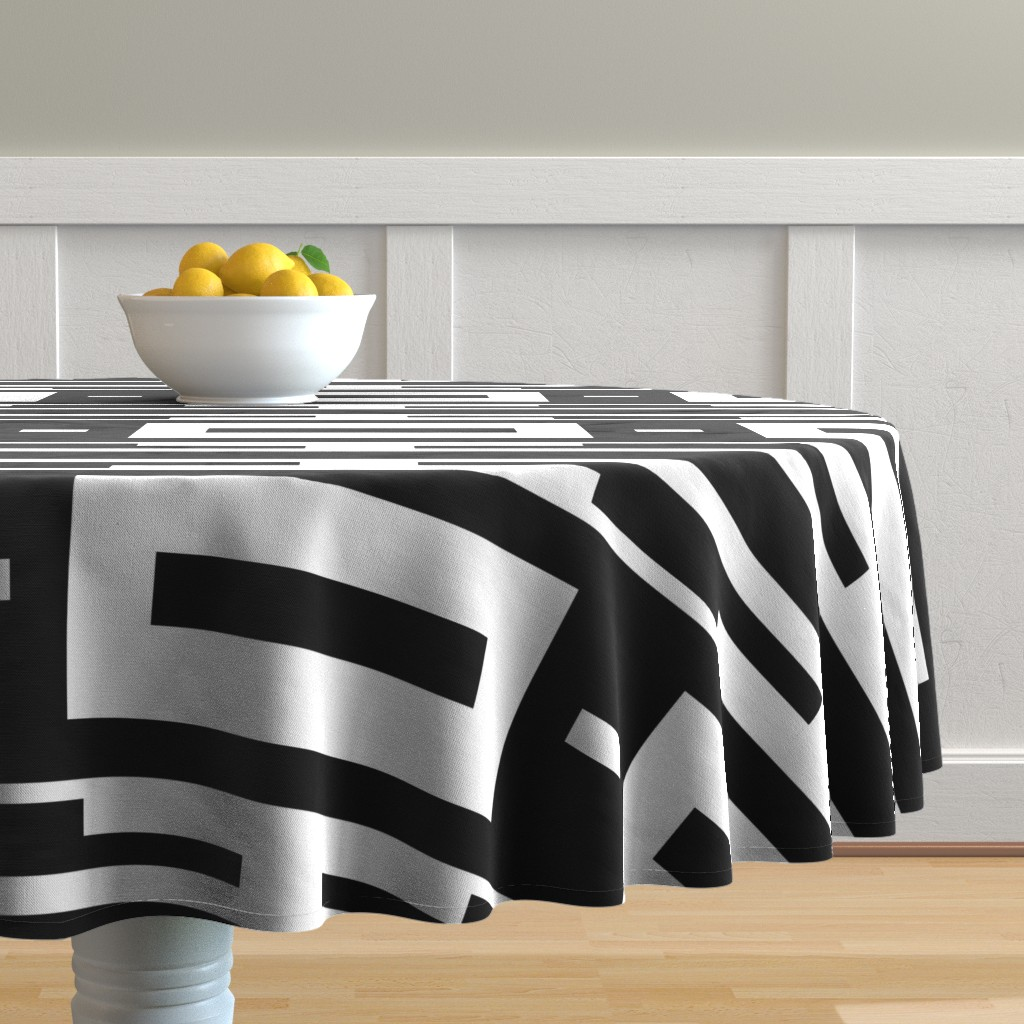 Malay Round Tablecloth featuring Line_House by blayney-paul