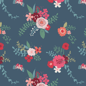 Linoprint floral