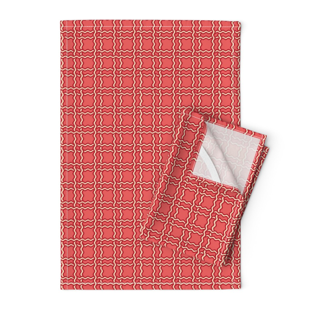 Orpington Tea Towels featuring squiggle plaid 2 - melon red by cinneworthington