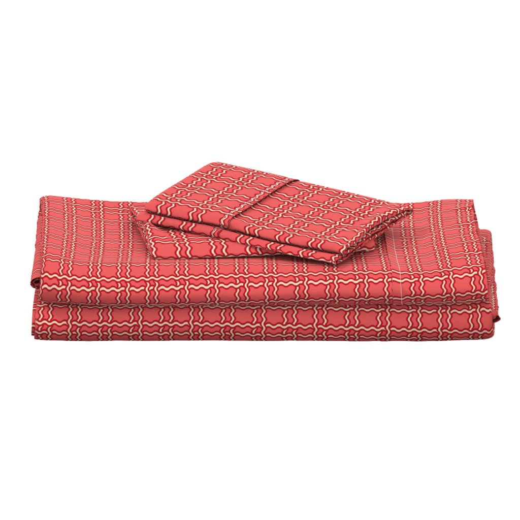 Langshan Full Bed Set featuring squiggle plaid 2 - melon red by cinneworthington