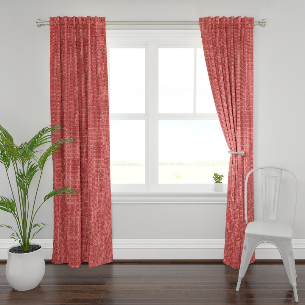 Plymouth Curtain Panel featuring squiggle plaid 2 - melon red by cinneworthington