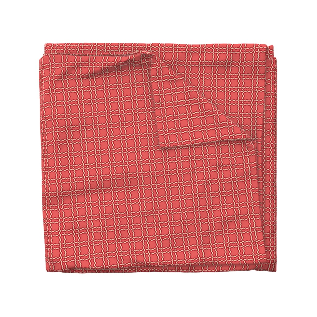 Wyandotte Duvet Cover featuring squiggle plaid 2 - melon red by cinneworthington