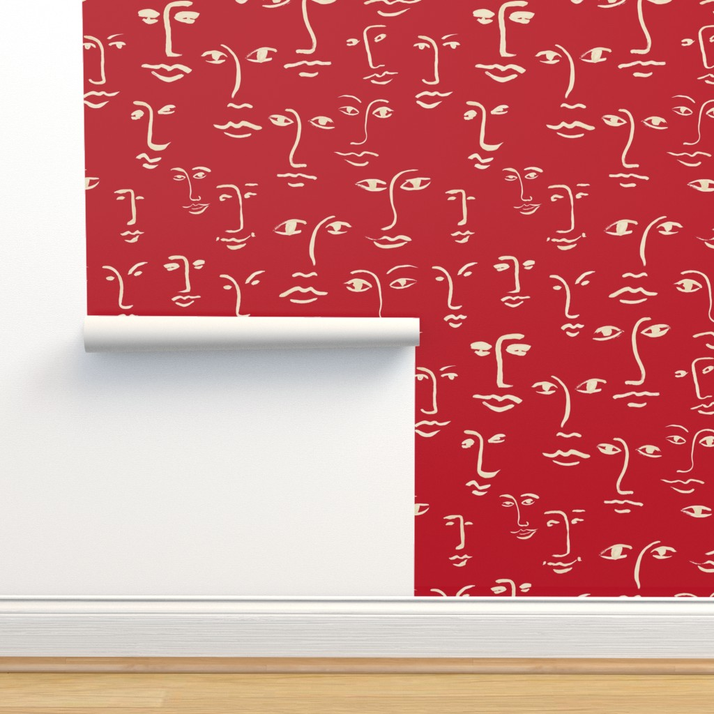 Isobar Durable Wallpaper featuring faces 2  in cream on red by cinneworthington