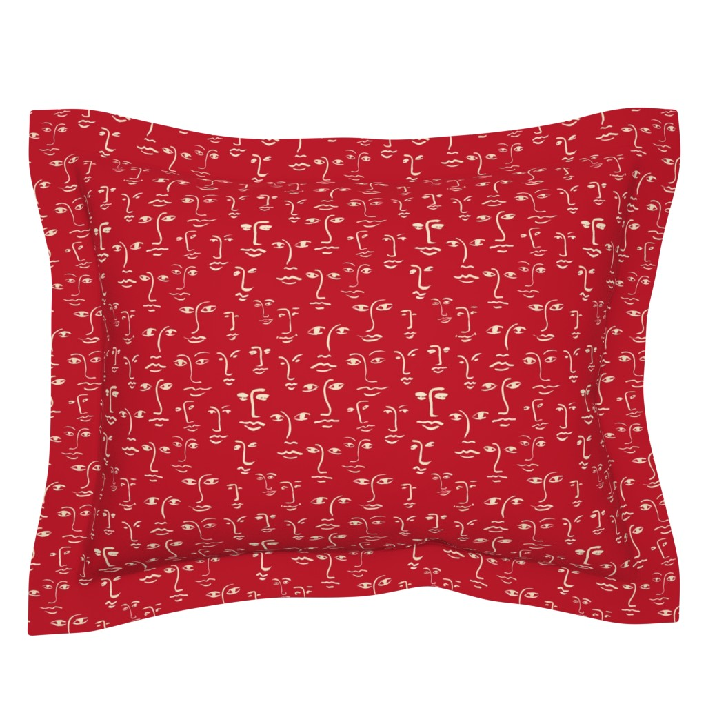 Sebright Pillow Sham featuring faces 2  in cream on red by cinneworthington
